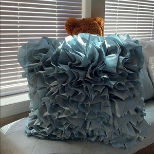Pier 1 Tiffany Blue Ruffle Accent Pillow